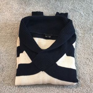 Theory Navy and White Striped Sweater